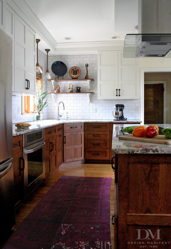 design-manifest-kitchen-stained-wood-base-white-wall-cabinets - Life on kitchen remodel white cabinets, ideas for kitchens with glass door cabinets, ideas for kitchens with island, ideas for kitchens with oak cabinets, ideas for kitchens with grey wall paint,