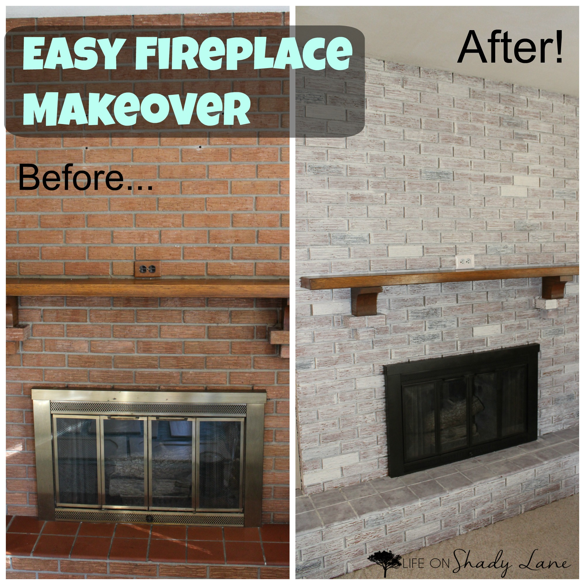 How To Whitewash A Brick Fireplace Via Life On Shady Lane Blog Kansas City