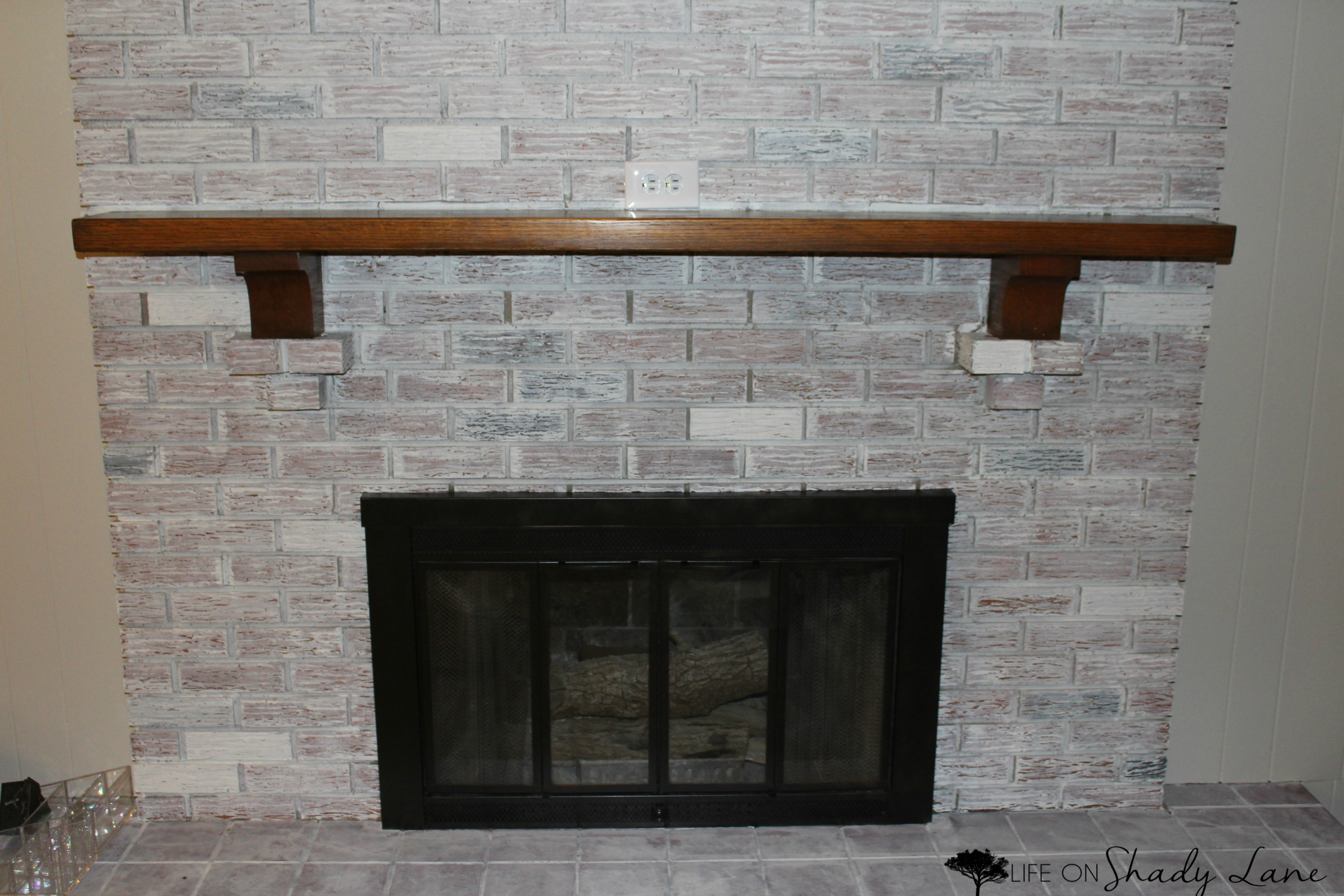 How to whitewash a brick fireplace life on shady lane - How to make a brick fireplace look modern ...