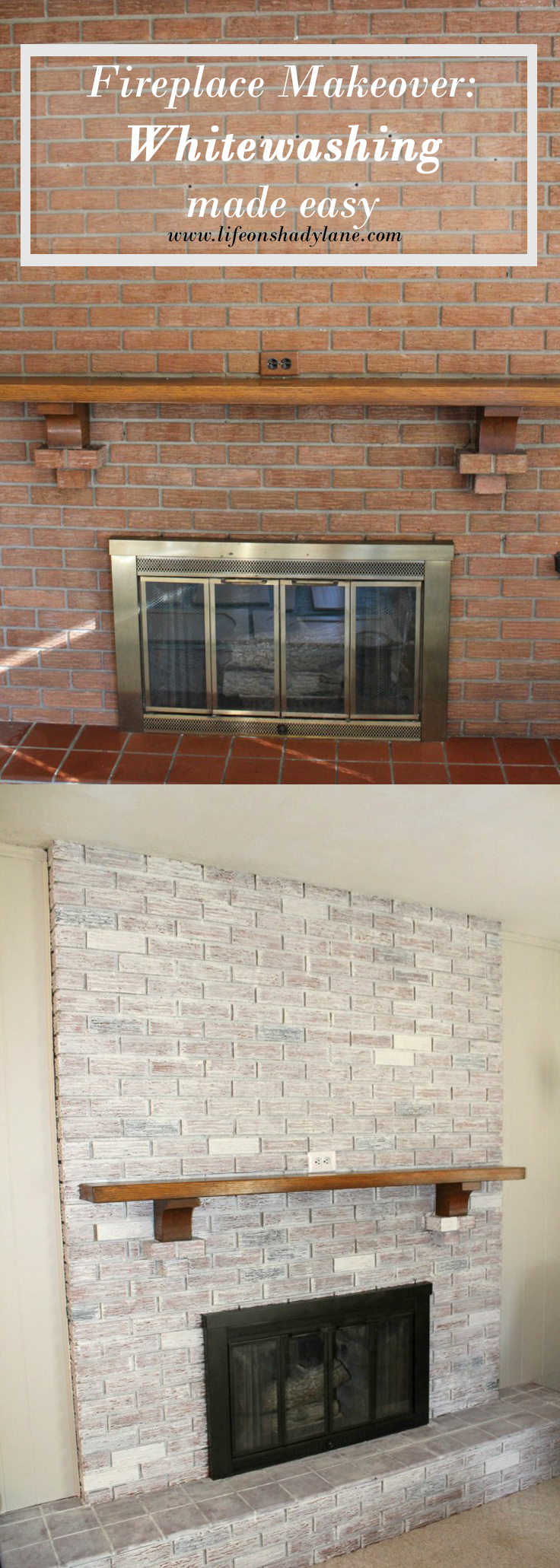 How to Whitewash a Brick Fireplace via Life on Shady Lane blog