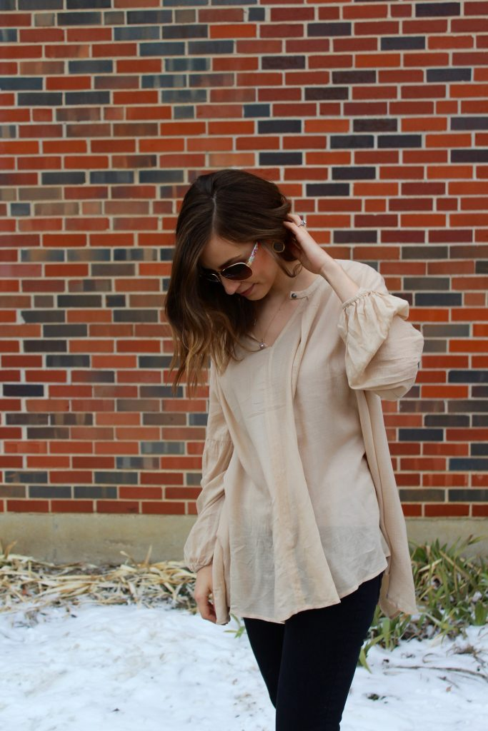 Button front tunic and leather jacket | Life on Shady Lane blog