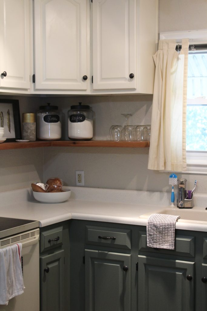 Painted kitchen cabinets + custom open shelving