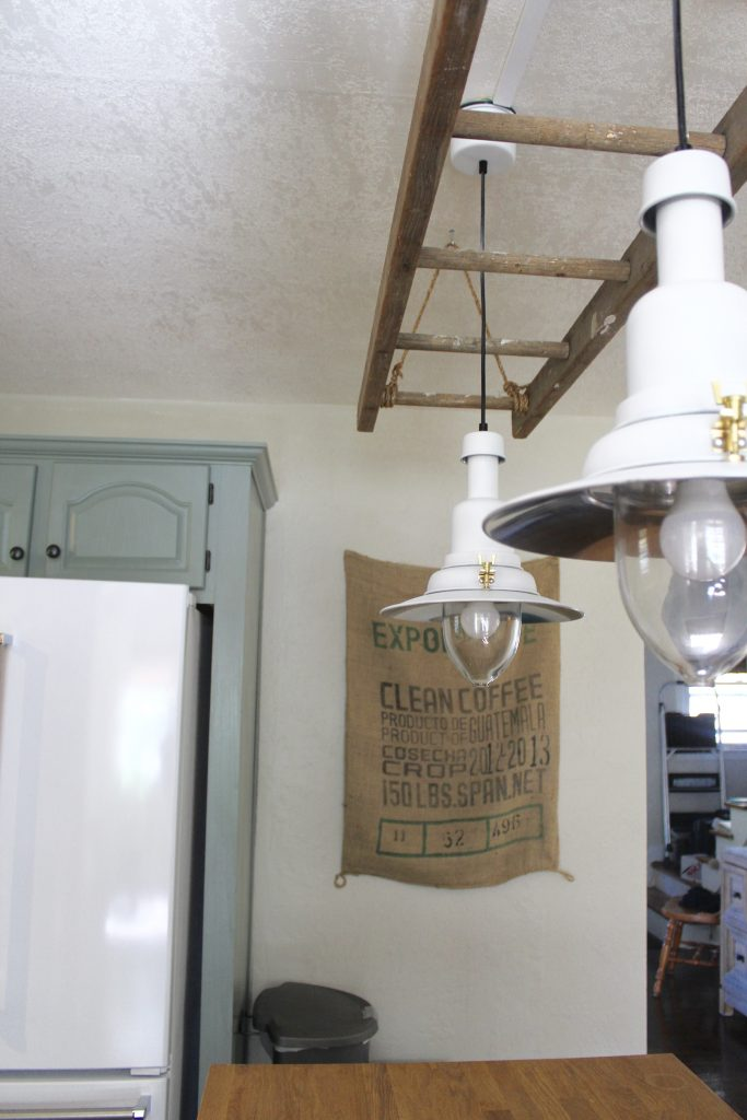 Antique Ladder and Pendant Lights via Life on Shady Lane blog