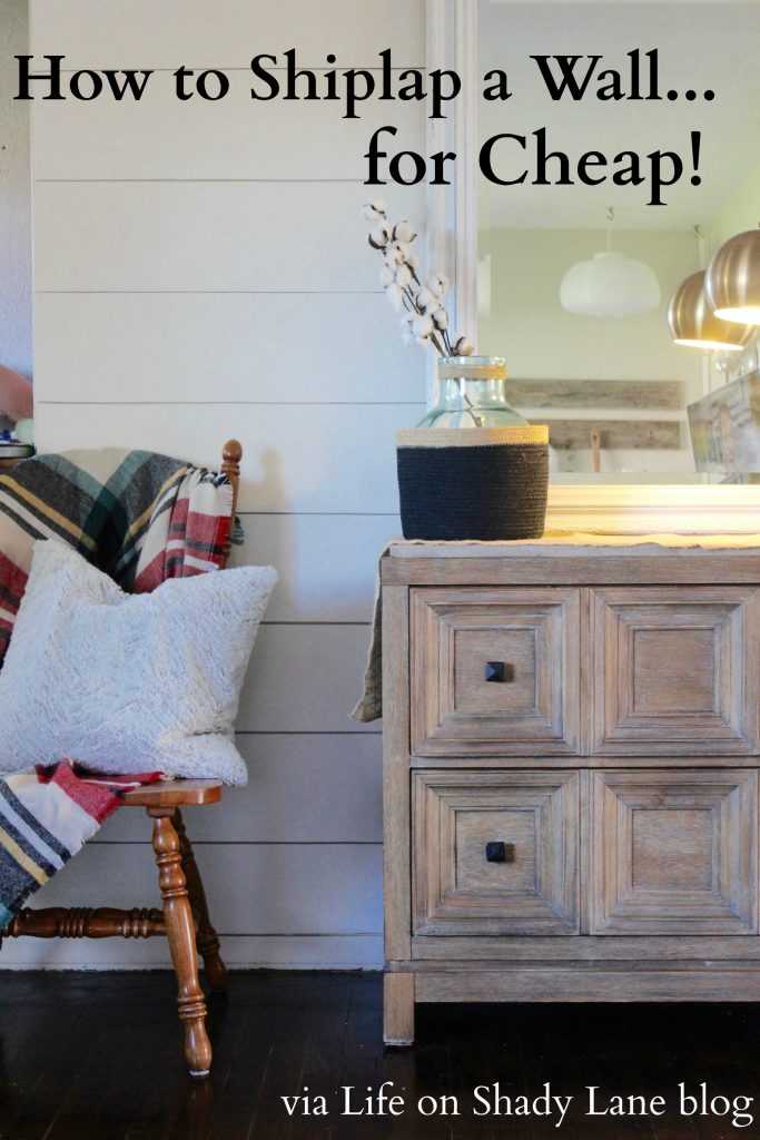 How to Shiplap a Wall for Cheap via Life on Shady Lane blog