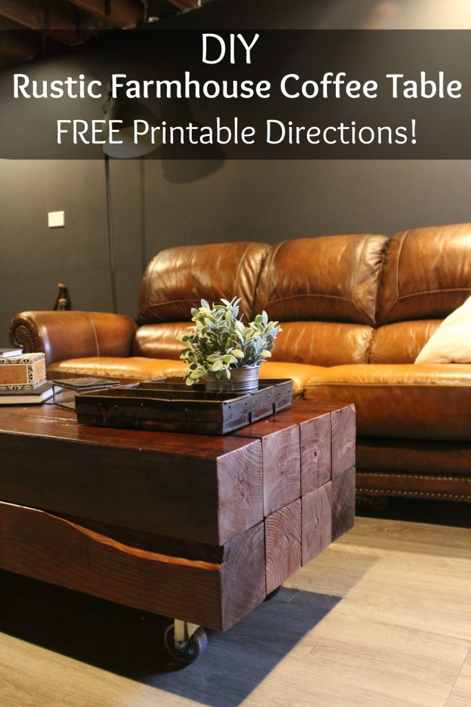 DIY rustic farmhouse coffee table with FREE printable directions - via Life on Shady Lane blog