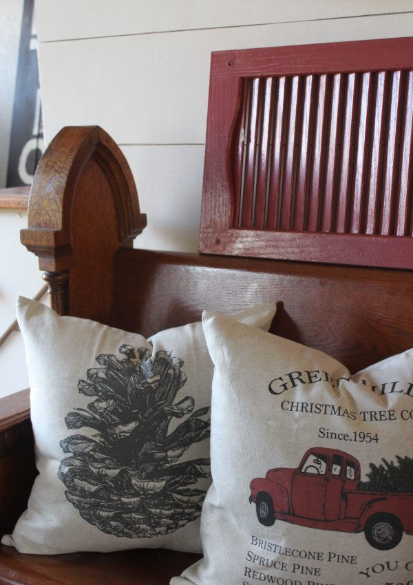 Antique Pew and Christmas Pillows