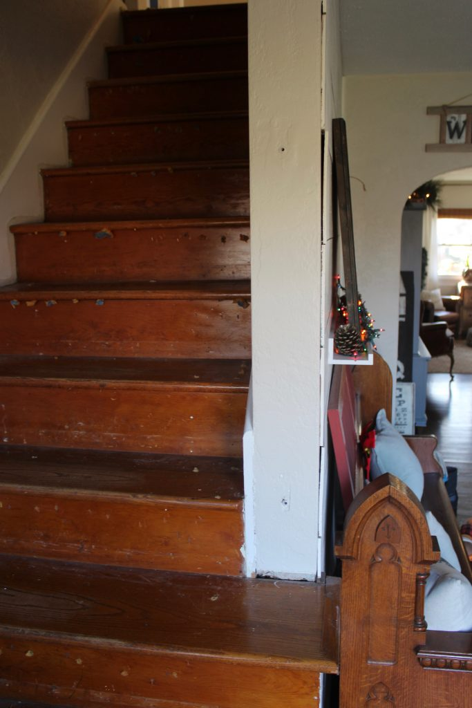Staircase - Before via Life on Shady Lane blog
