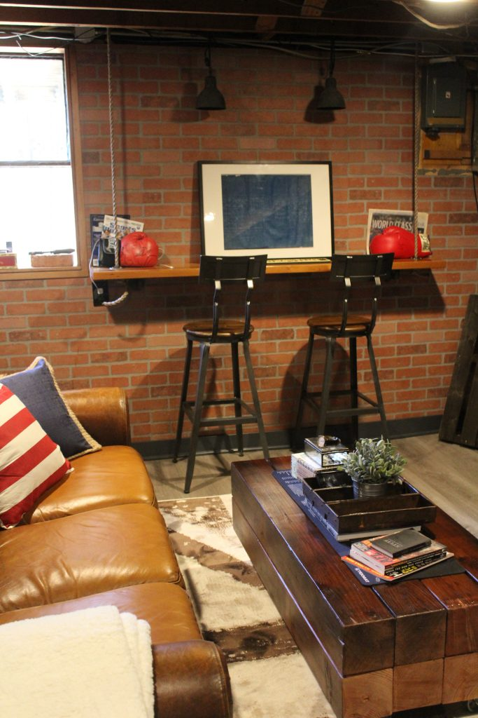 A vintage sports themed basement renovation