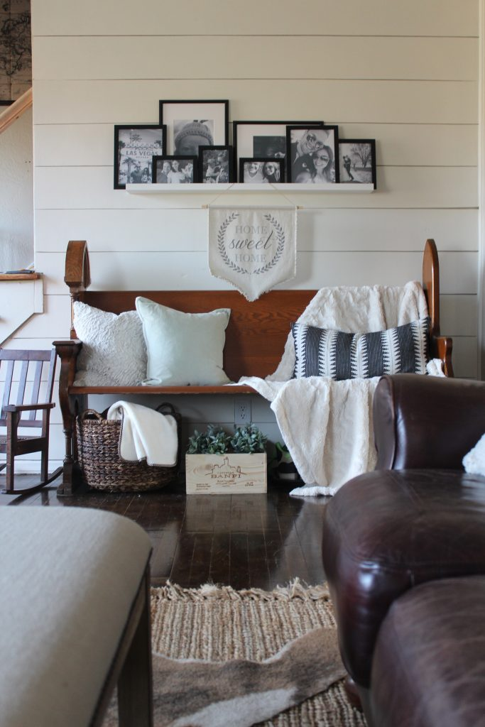 Early spring styled antique church pew via Life on Shady Lane blog