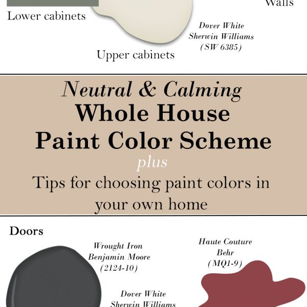 Neutral and calming whole house paint color scheme + tips for choosing paint colors in your own home via Life on Shady Lane blog