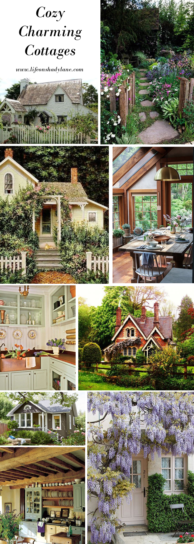 Cozy, Charming Cottages via Life on Shady Lane blog