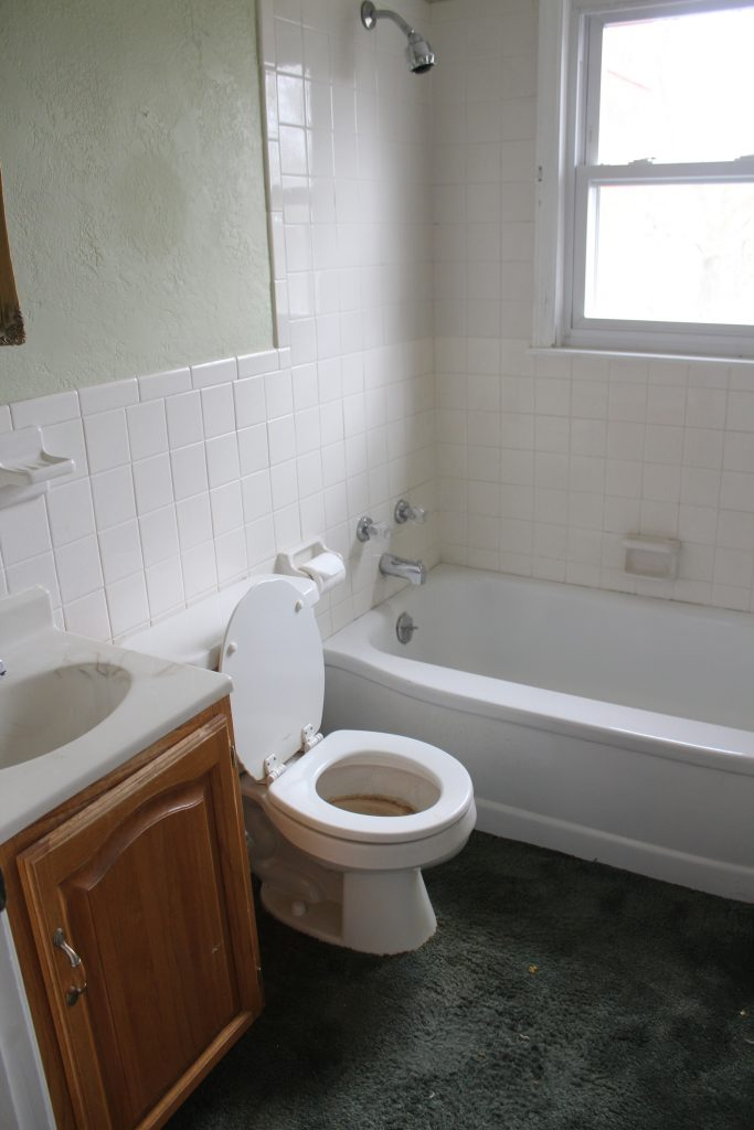 Our Upstairs Bathroom: Before via Life on Shady Lane blog