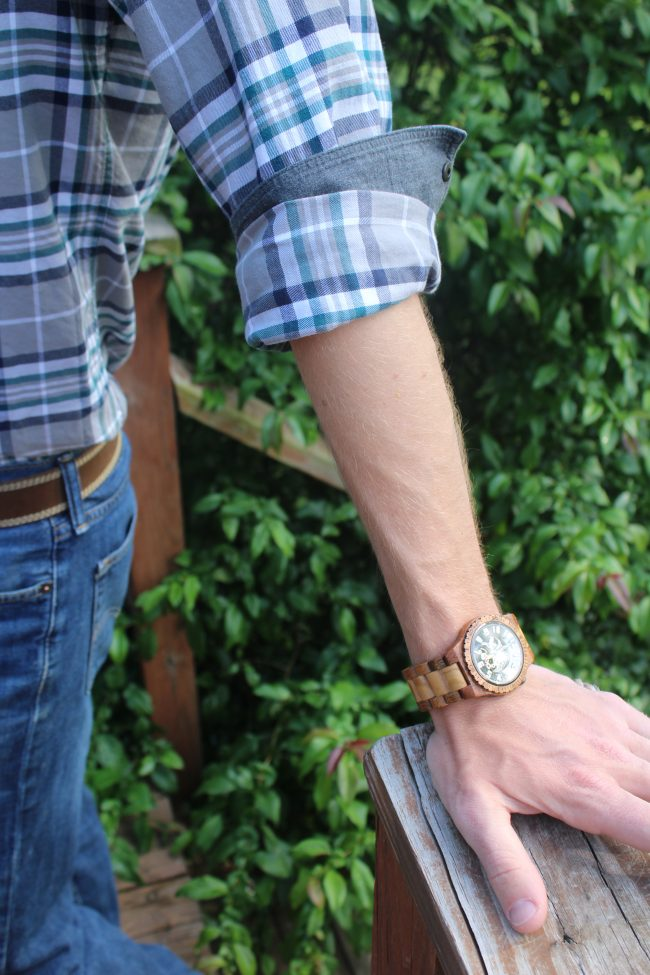 An olive and acacia wood men's watch - the perfect unique gift for a birthday, Father's Day, or any holiday!
