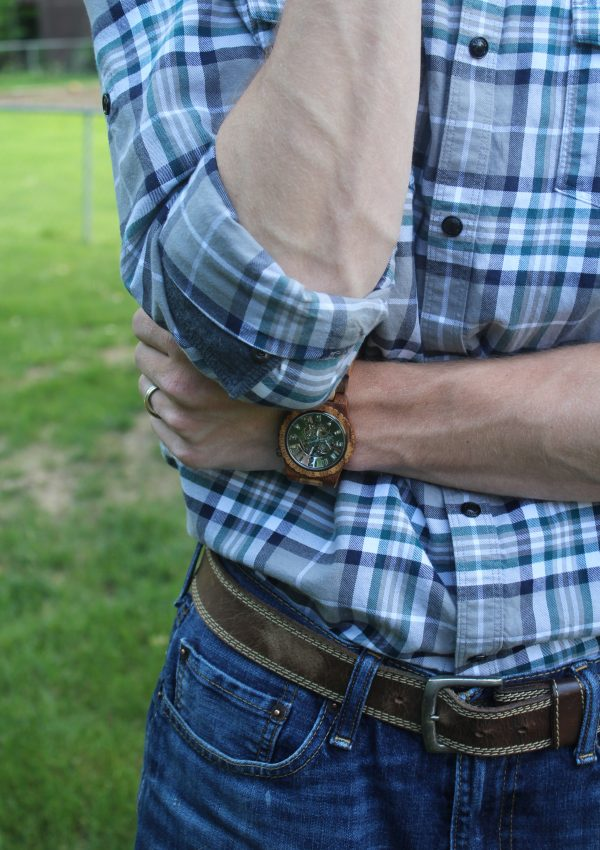 An Olive and Acacia Wood Men's Watch