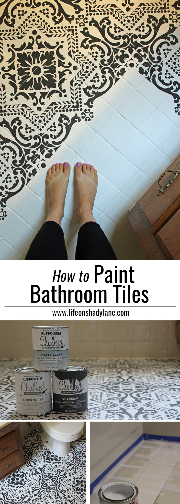 how to paint bathroom tiles in a shower black amp white stenciled bathroom floor on shady 26410