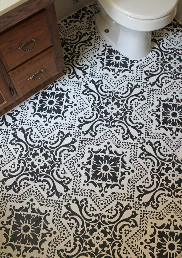Black and White Stenciled Bathroom Floor