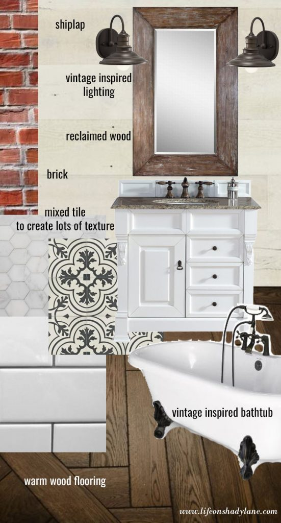 A vintage modern farmhouse bathroom plan that features crisp whites, warm reclaimed wood, and brick accents.