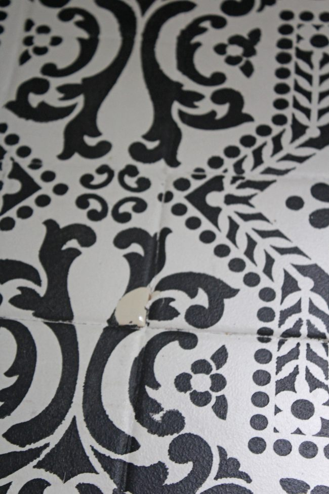 An Update on our Stenciled Tile Floor