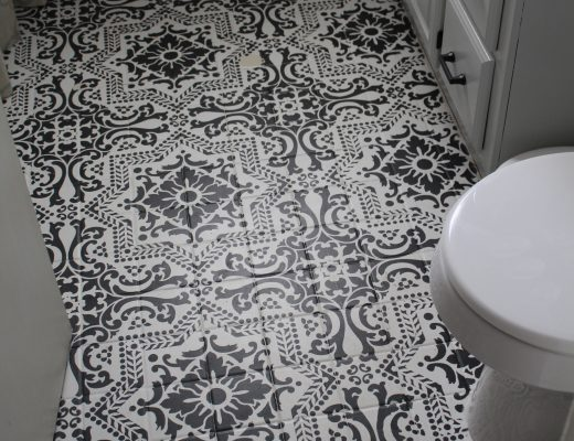 An Update on our Stenciled Bathroom Floor