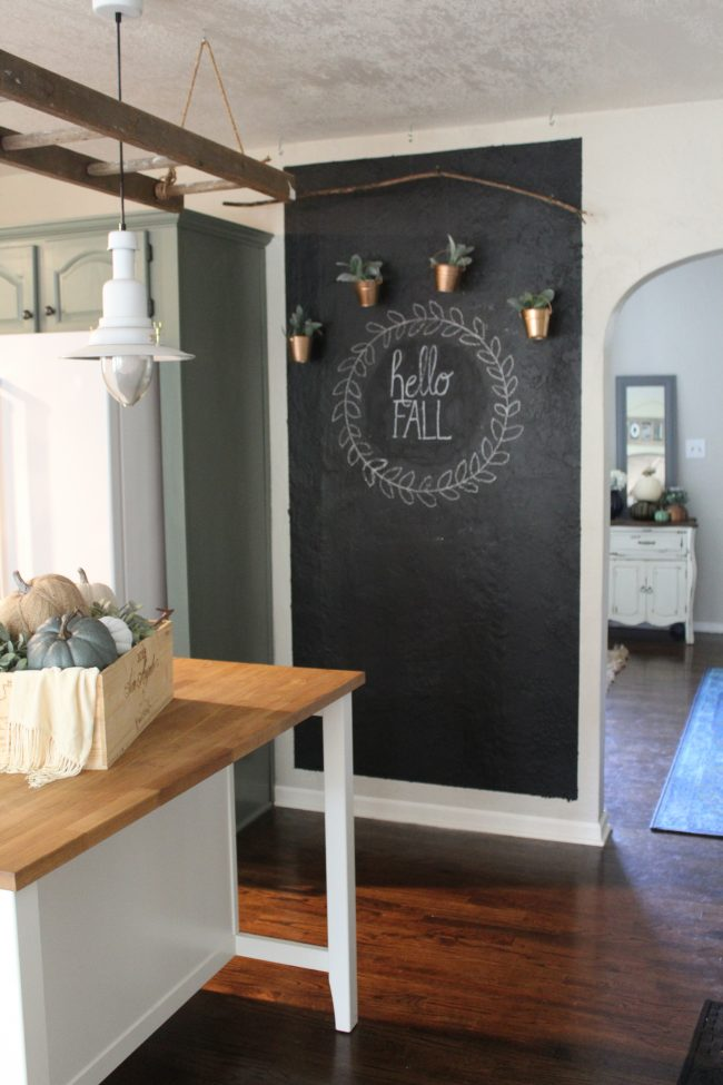 Chalkboard Wall With Hanging Copper Planters And Faux