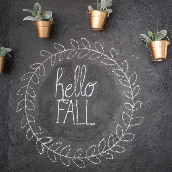 Chalkboard Wall with Hanging Copper Planters