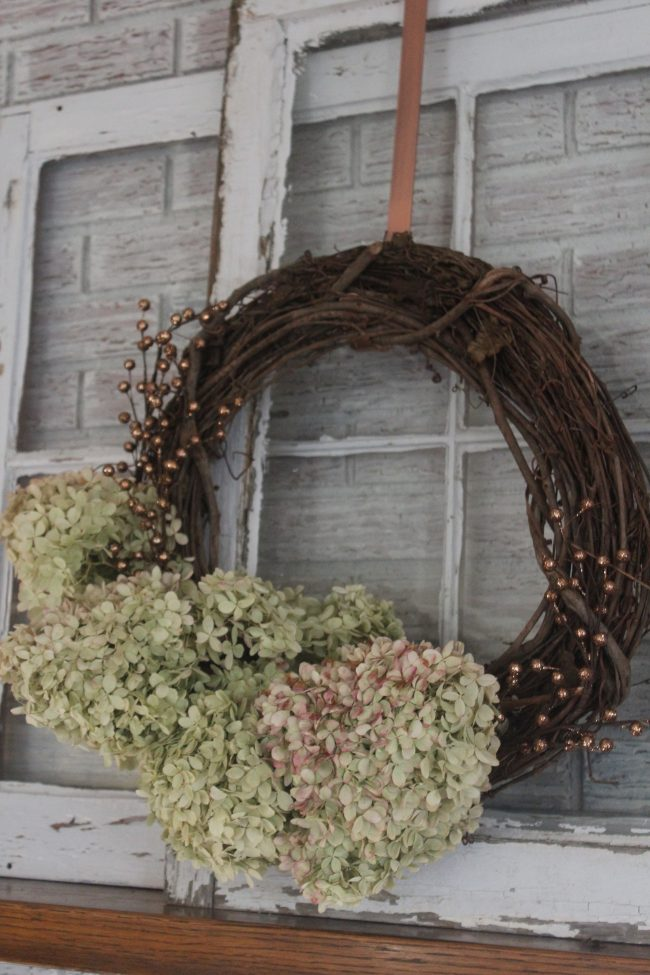 Hydrangea Wreath with Copper Accents