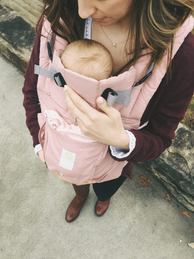 A blush pink organic cotton baby carrier - must have for moms of littles!