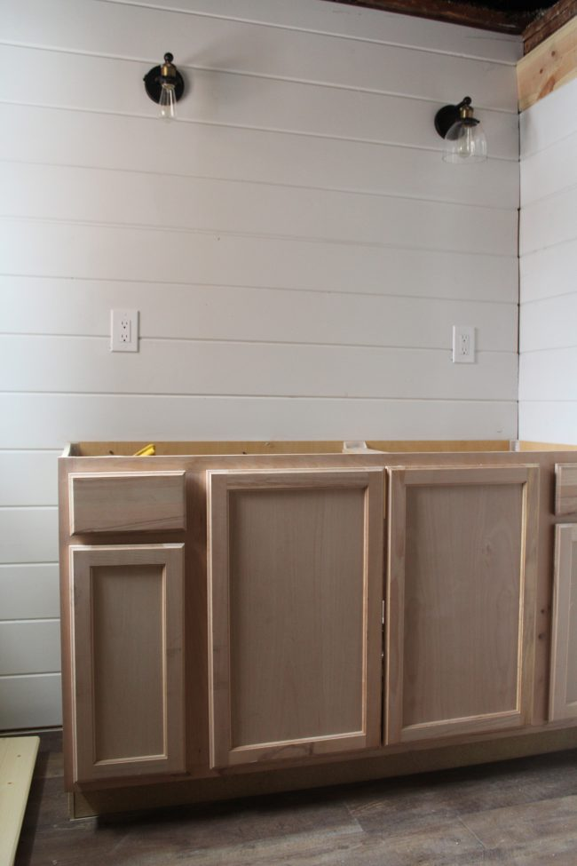Modern Farmhouse Bathroom Remodel: Shiplap, Tub, Flooring, and Vanity