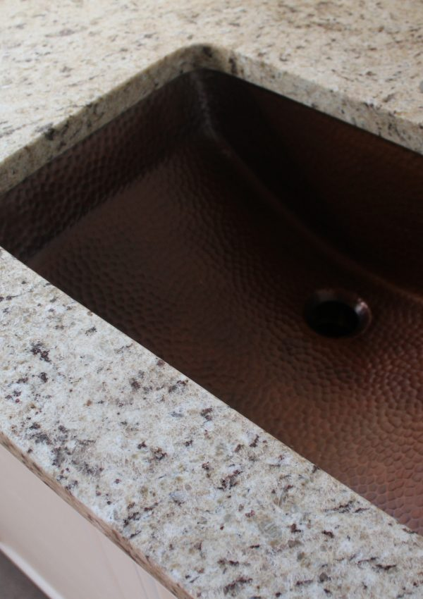 Upstairs Bathroom: Countertops and a Copper Sink