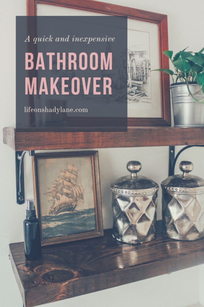 A quick bathroom makeover with white paint and open shelving. A couple coats of paint + some open shelving in our bathroom and VOILA! The room feels fresh and modern again.