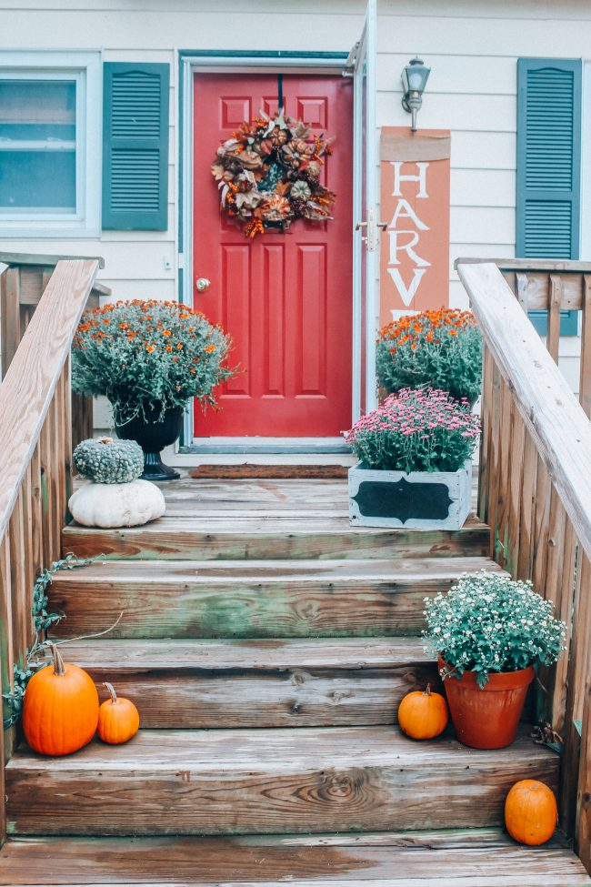 Fall front porch with pumpkins and mums, fall front door wreath, how to decorate a front porch for Fall