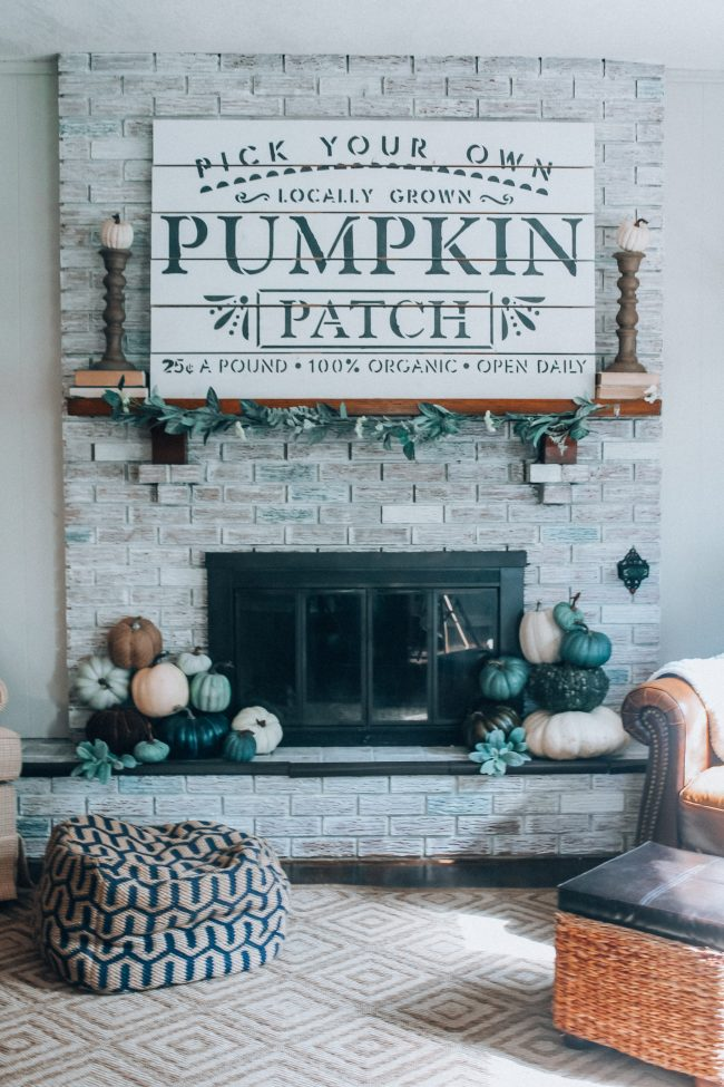 Fall Fireplace and mantle with blue, green, and white pumpkins // Cool toned Fall home decor