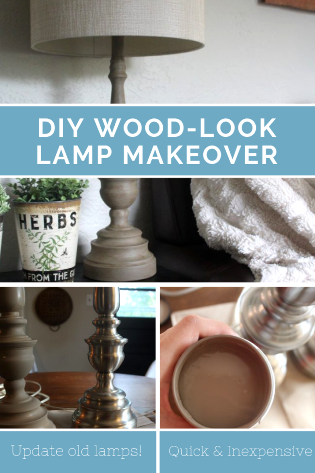DIY wood look lamp makeover, perfect for adding a little farmhouse vibe to your home! Simple project to update old lamps. #diy #project