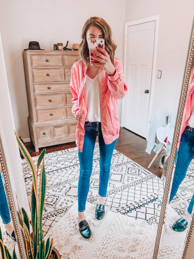 Pink bomber jacket and jeans / Casual winter and spring fashion. Kansas City life, home, and style blogger Megan Wilson shares her Amazon Finds - January | Week 3 - Affordable cute style that's fun and won't break the bank! #amazon #amazonfashion #amazonclothes