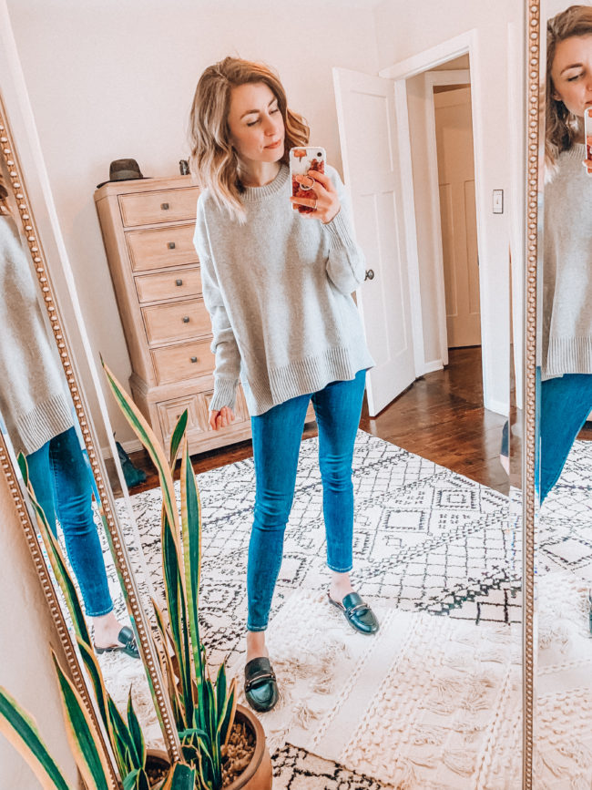 Gray sweater and jeans from AMAZON! / Casual winter  fashion. Kansas City life, home, and style blogger Megan Wilson shares her Amazon Finds - January | Week 3 - Affordable cute style that's fun and won't break the bank! #amazon #amazonfashion #amazonclothes