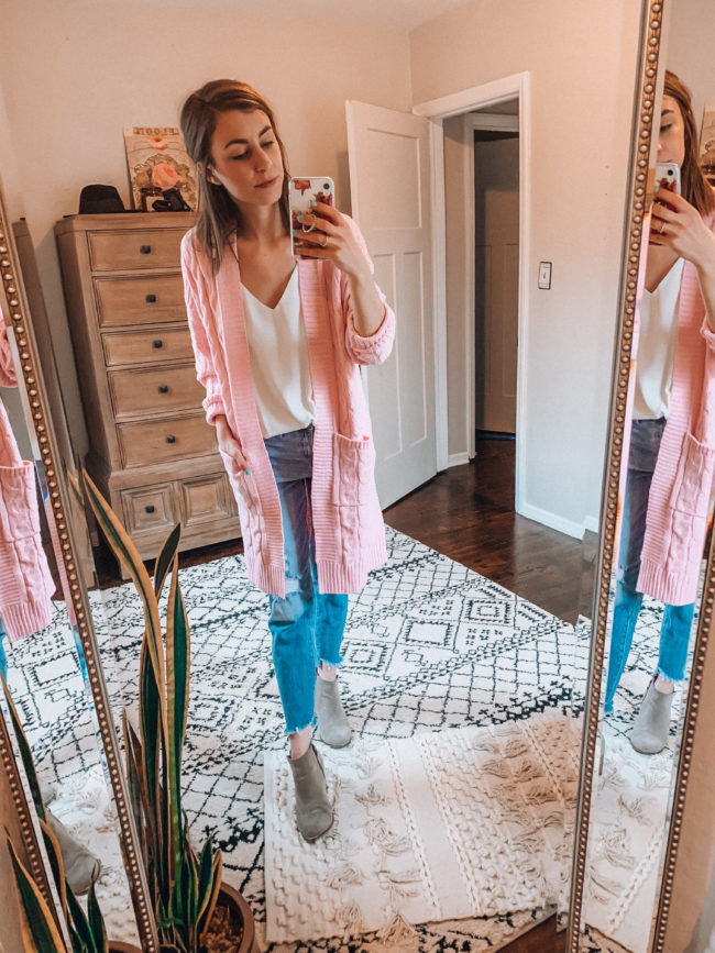 Pink cardigan, white tank, and distressed blue jeans - Casual everyday fashion. Kansas City life, home, and style blogger Megan Wilson shares her Amazon Finds - February | Week 1 - Affordable cute style that's fun and won't break the bank! #amazon #amazonfashion #amazonclothes #amazonfinds