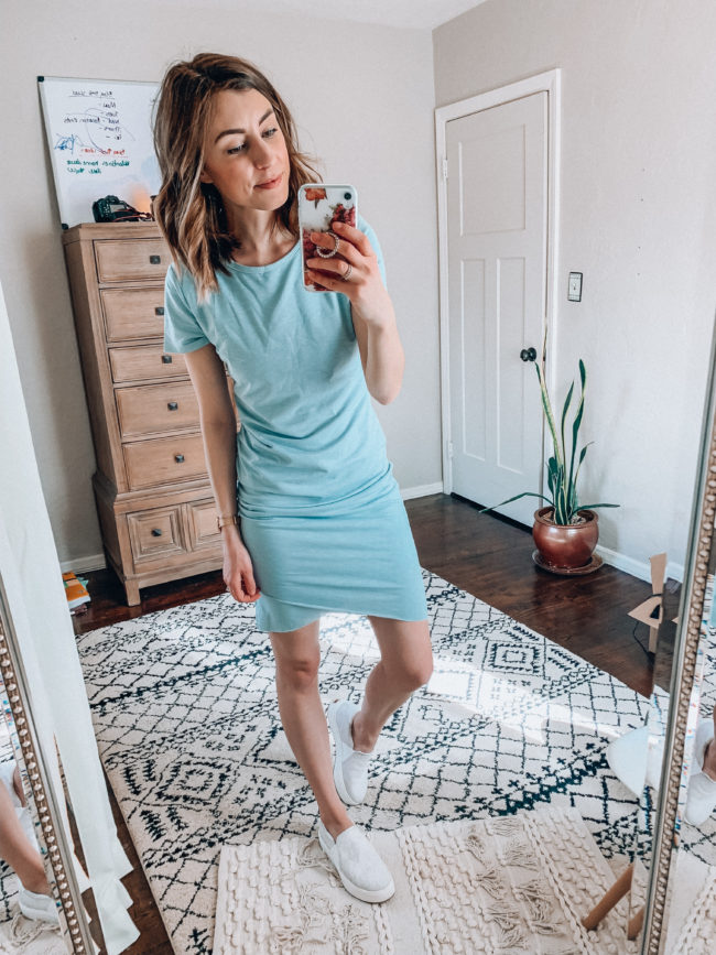 Blue tee shirt bodycon dress with white tennis shoes | Spring and summer outfits | Casual everyday fashion. Kansas City life, home, and style blogger Megan Wilson shares her Amazon Finds - February | Week 2 - Affordable cute style that's fun and won't break the bank! #amazon #amazonfashion #amazonclothes #amazonfinds