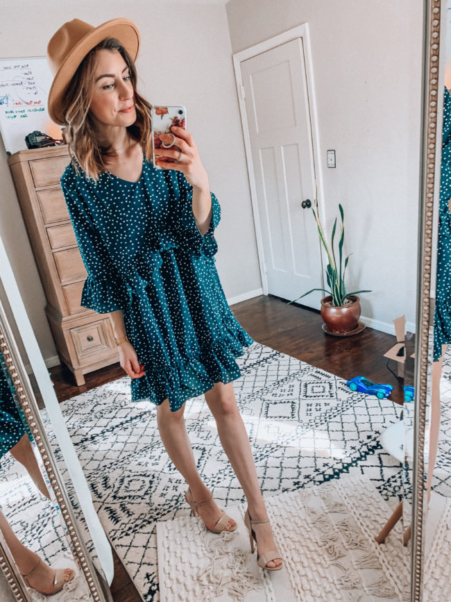 Ruffled dress and hat | Spring and summer outfits | Casual everyday fashion. Kansas City life, home, and style blogger Megan Wilson shares her Amazon Finds - February | Week 2 - Affordable cute style that's fun and won't break the bank! #amazon #amazonfashion #amazonclothes #amazonfinds