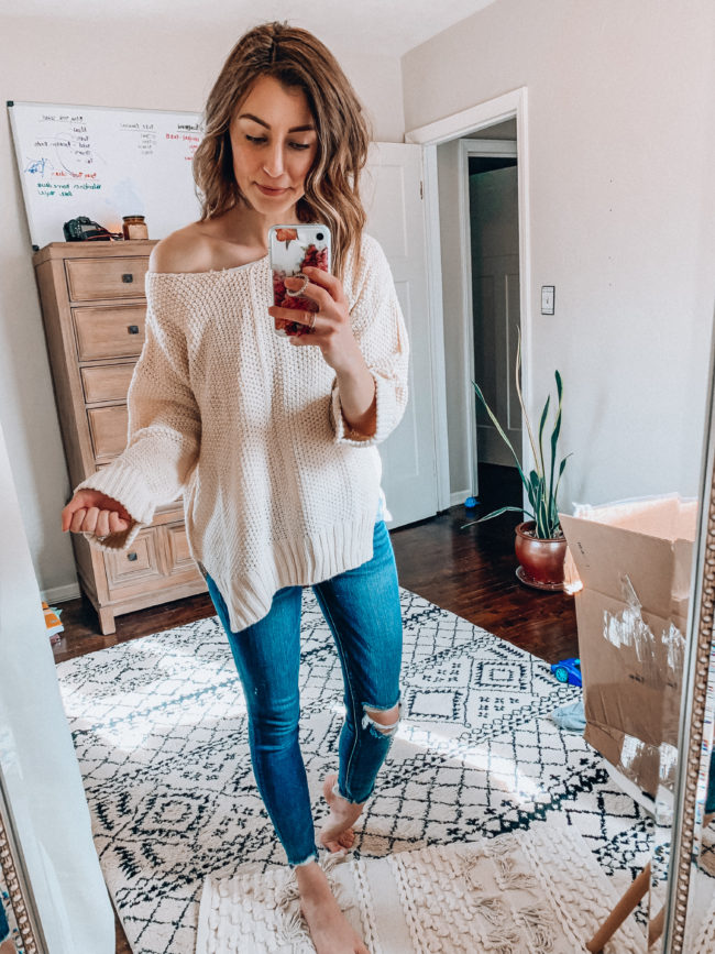 Beige pullover sweater and distressed skinny jeans | Spring and summer outfits | Casual everyday fashion. Kansas City life, home, and style blogger Megan Wilson shares her Amazon Finds - February | Week 2 - Affordable cute style that's fun and won't break the bank! #amazon #amazonfashion #amazonclothes #amazonfinds