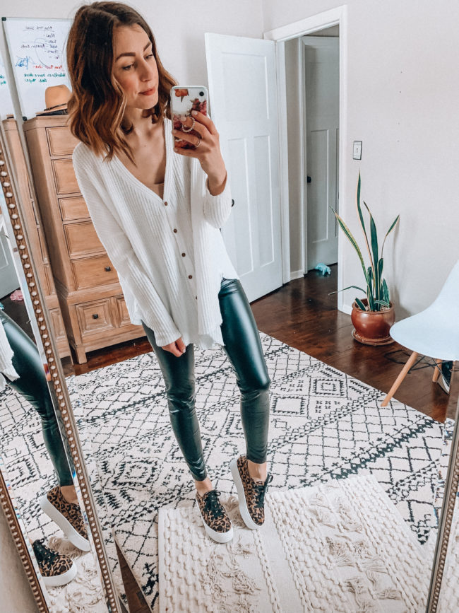 Leopard sneakers, faux leather leggings and white henley | Casual everyday fashion. Kansas City life, home, and style blogger Megan Wilson shares her Amazon Finds - February | Week 3 - Affordable cute style that's fun and won't break the bank! #amazon #amazonfashion #amazonclothes #amazonfinds