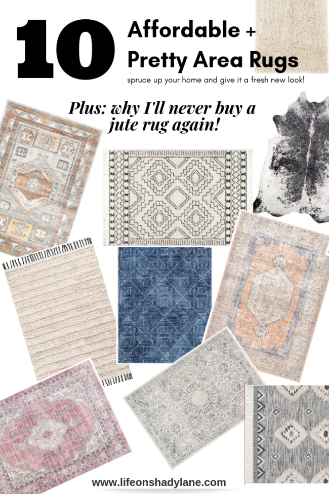 10 affordable + pretty living room rugs to spruce up your home and give it a fresh new look! Plus, I'm sharing why I'll never buy a jute rug again. Kansas City life, home, and style blogger Megan Wilson shares a roundup of 10 living room rugs. Patterned area rug.