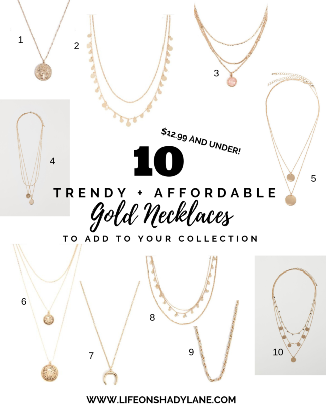 10 trendy + affordable gold necklaces that are ALL $12.99 and UNDER! Some are even as low as $5. Try out the gold coin necklace trend without dropping a ton of cash. Kansas City life, home, and style blogger Megan Wilson shares ten trendy and affordable gold necklaces to add to your collection | lifeonshadylane.com / @shadylaneblog on IG #jewelry #coinnecklace