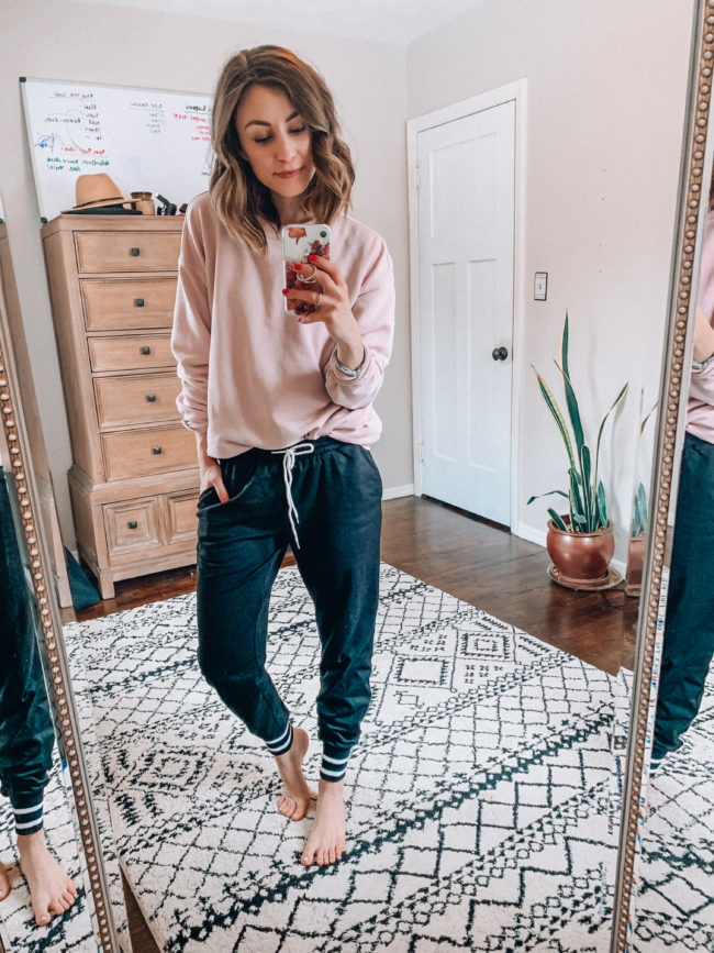 Black joggers outfit | Casual everyday fashion. Kansas City life, home, and style blogger Megan Wilson shares her Amazon Finds - February | Week 4 - Affordable cute style that's fun and won't break the bank! #amazon #amazonfashion #amazonclothes #amazonfinds