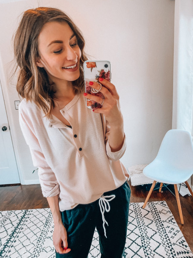 Black joggers and henley | Casual everyday fashion. Kansas City life, home, and style blogger Megan Wilson shares her Amazon Finds - February | Week 4 - Affordable cute style that's fun and won't break the bank! #amazon #amazonfashion #amazonclothes #amazonfinds