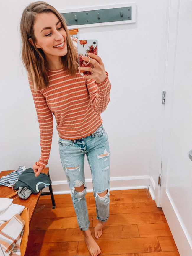 Casual spring and summer style, distressed light wash jeans and a long sleeve striped top outfit, spring and summer outfits | Kansas City life, home, and style blogger Megan Wilson shares an  American Eagle try-on | March | Life on Shady Lane // @shadylaneblog
