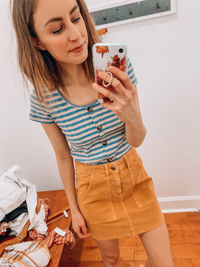 Casual spring and summer style, Yellow corduroy skirt and a striped tee, spring and summer outfits | Kansas City life, home, and style blogger Megan Wilson shares an  American Eagle try-on | March | Life on Shady Lane // @shadylaneblog