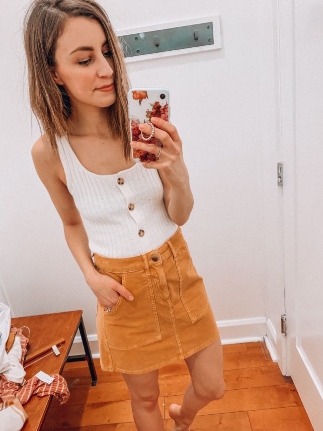 Casual spring and summer style, Yellow corduroy skirt and a white tank, spring and summer outfits | Kansas City life, home, and style blogger Megan Wilson shares an  American Eagle try-on | March | Life on Shady Lane // @shadylaneblog