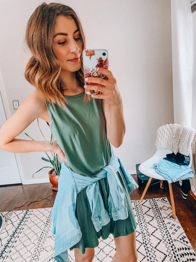 spring and summer tank dress | olive green tank dress outfit | Casual everyday spring and summer fashion. Kansas City life, home, and style blogger Megan Wilson shares her Amazon Finds - March | Week 1 - Affordable cute style that's fun and won't break the bank! #amazon #amazonfashion #amazonclothes #amazonfinds