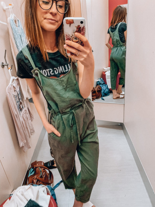 Overalls | Olive green overalls and white slides | Casual spring and summer style, spring and summer outfits | Kansas City life, home, and style blogger Megan Wilson shares a Target try-on | March | Life on Shady Lane // @shadylaneblog on IG
