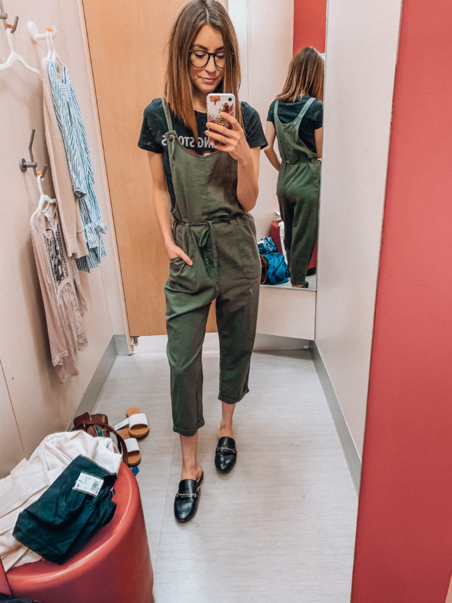 Overalls | Olive green overalls and black loafers | Casual spring and summer style, spring and summer outfits | Kansas City life, home, and style blogger Megan Wilson shares a Target try-on | March | Life on Shady Lane // @shadylaneblog on IG